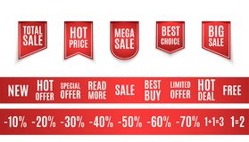 Vector collection of red sale tags with text - Limited edition, best choice, special offer. Labels for banners and posters design. Eps 10 Stock Photos