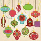 Vector Collection of Retro Christmas Ornaments. And Frames Stock Photo