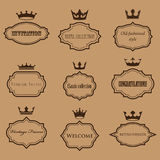 Vector collection of retro frames with crowns Royalty Free Stock Image