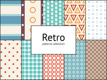Vector collection of retro patterns. 10 different vintage tiling seamless patterns Stock Photos