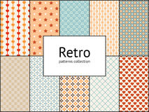 Vector collection of retro patterns. 10 different vintage tiling seamless patterns Stock Photography