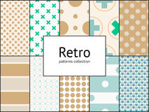 Vector collection of retro patterns. 10 different vintage tiling seamless patterns Royalty Free Stock Image