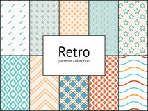 Vector collection of retro patterns. 10 different vintage tiling seamless patterns Stock Images