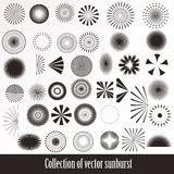 Vector collection of retro sunbursts for design Stock Photos