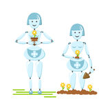 Vector collection with robots, flowers and horticulture. Stock Image