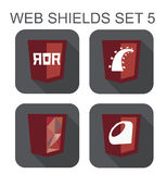 Vector collection of ruby web development shield signs: ruby on Stock Image