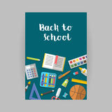 Vector collection of school supplies icons flat. Back to school vertical banner flat education icon set. School supplies book, album, pencil, paint, pen, brush Stock Photo