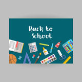 Vector collection of school supplies icons flat horizontal, banner. Back to school horizontal banner flat education icon set. School supplies book, album, pencil Royalty Free Stock Image