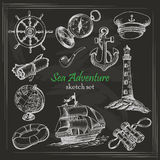 Vector collection of Sea Adventure in sketch style on dark background Royalty Free Stock Photo