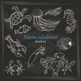 Vector collection of sea inhabitants in sketch style on dark background Stock Photos