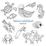 Vector collection of sea inhabitants in sketch style Royalty Free Stock Image