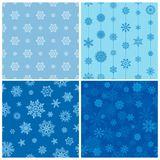 Vector collection of seamless backgrounds with snowflakes. Vector set of seamless backgrounds with snowflakes Royalty Free Stock Photo