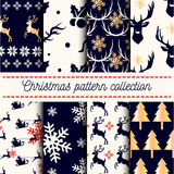 Vector collection of seamless Merry Christmas, Happy New Years patterns. Vector collection of 8 seamless Merry Christmas and Happy New Years patterns with dark Stock Image