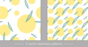 Vector collection of seamless patterns with green tropical leaves with yellow circles stock illustration
