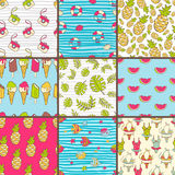 Vector collection of seamless summer patterns. Bright cute carto. On style. Photo camera, tropic fish, pineapple, watermelon, palm leaves, swim suit, bikini Stock Photos