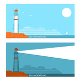 Vector collection set of banners about lighthouse in blue sea Royalty Free Stock Images