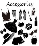 Vector  collection, set, with fashion girls accesories,items Sketch, monochrome clip art. Stylish prints. vector illustration