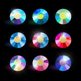Vector collection of shine colorful gemstones isolated on black background. Stock Photos