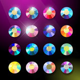 Vector collection of shine colorful gemstones isolated on black background. Royalty Free Stock Image