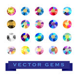 Vector collection of shine colorful gemstones isolated on white background. Stock Images