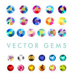 Vector collection of shine colorful gemstones isolated on white background. Royalty Free Stock Image
