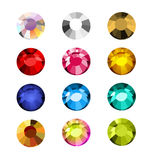 Vector collection of shine colorful gemstones isolated on white background. Royalty Free Stock Photography