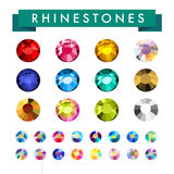 Vector collection of shine colorful gemstones isolated on white background. Royalty Free Stock Photos