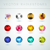 Vector collection of shine colorful gemstones  on white background. Stock Images