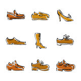 Vector collection of shoes, illustrated footwear. Stock Photos