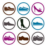 Vector collection of shoes, illustrated footwear. Royalty Free Stock Photo