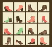 Collection of shoes on shelves of shop. Vector collection of shoes on shelves of shop. Footwear in flat icons set of female shoes, boots for different seasons Royalty Free Stock Image
