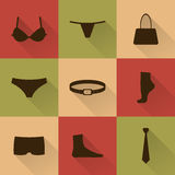 Vector collection of silhouettes of underware and accessories Stock Image