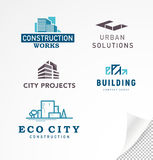 Vector collection of simple stylish flat construction company and architect agency logo designs. Isolated on white background. Building company insignia set Stock Image