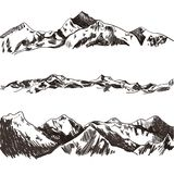 Vector Collection of Sketched Mountains and Hills, Hand Drawn Illustrations. royalty free illustration
