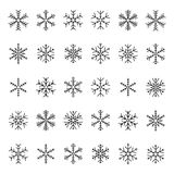 Vector collection of snowflakes, black icon on a white background Royalty Free Stock Photography