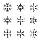 Vector collection of snowflakes, black icon on a white background Royalty Free Stock Photo