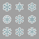 Vector collection of snowflakes icons. Stock Image