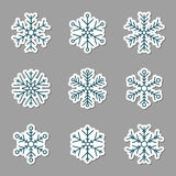 Vector collection of snowflakes icons. Icons on a grey background Stock Photo