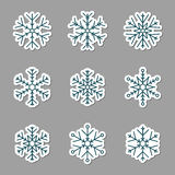 Vector collection of snowflakes icons. Icons on a grey background Royalty Free Stock Image