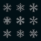 Vector collection of snowflakes, white icon on a black background Royalty Free Stock Photography