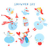 Vector collection of snowmen Stock Photo