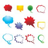 Vector collection speech and thought communication bubbles. Colorful set isolated bubbles. Vector collection speech and thought communication bubbles Stock Photos