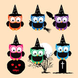 Vector Collection of Spooky Halloween Owls Stock Image