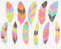 Vector Collection of Stylized Feathers Royalty Free Stock Image