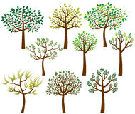 Vector collection of stylized tree silhouettes with leaves Stock Image