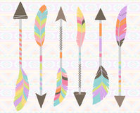 Vector Collection of Stylized Tribal Feather Arrows Stock Photos