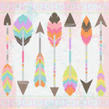 Vector Collection of Stylized Tribal Feather Arrows Royalty Free Stock Images