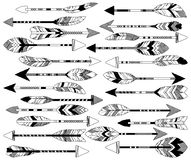 Vector Collection of Stylized Tribal Feather Arrows Royalty Free Stock Photography