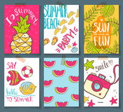 Vector collection of summer cards. Grettings and invintations. H. Ello, summer. Beach party. Smile. Pop art retro style. Bright colors Stock Images
