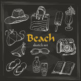 Vector collection of summer elements in sketch style on dark background Royalty Free Stock Image